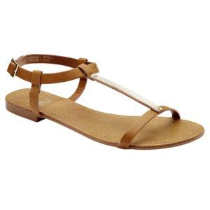 Flat tan sandals Dhs49