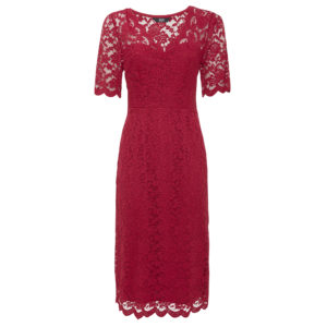 Scallop hem lace dress in red, Dhs189