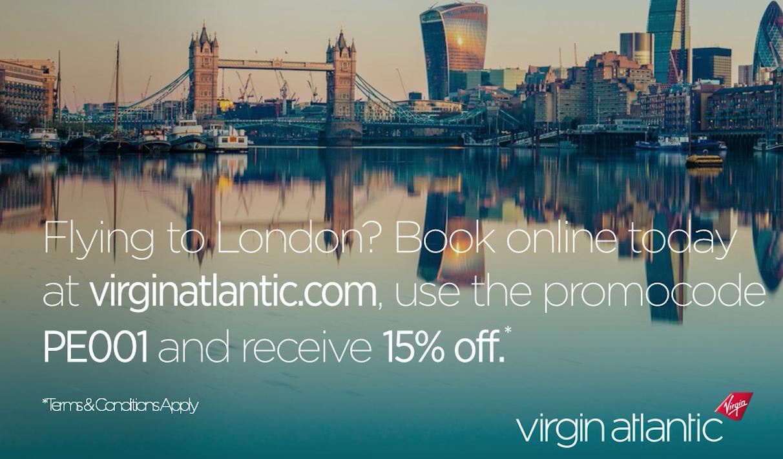 15% off Virgin Atlantic flights to London!